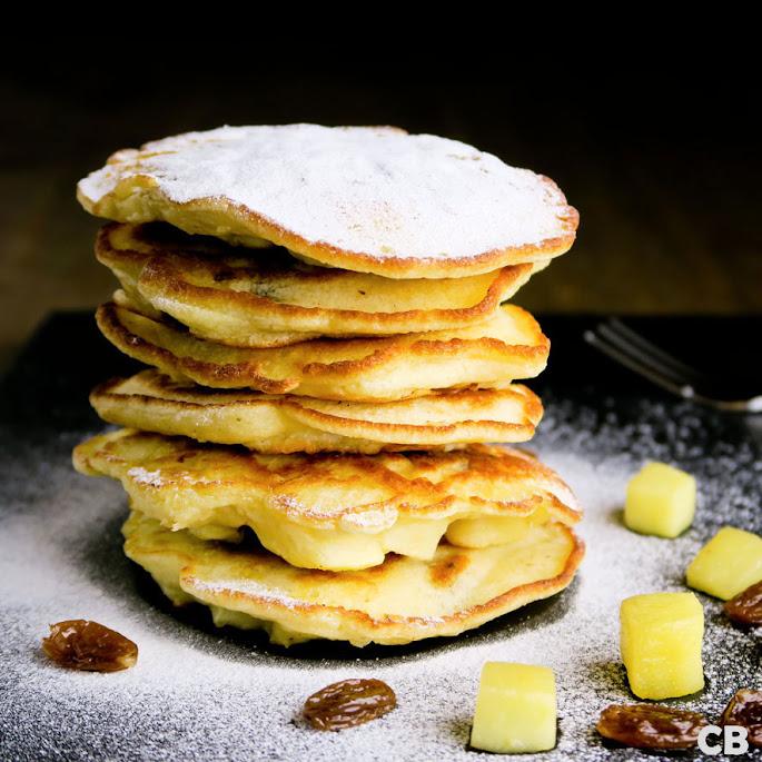 Pannenkoekjes met appel en rumrozijnen