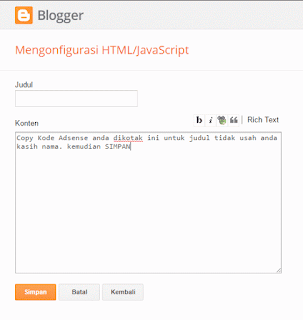 cara membuat gadjet html iklan adsense