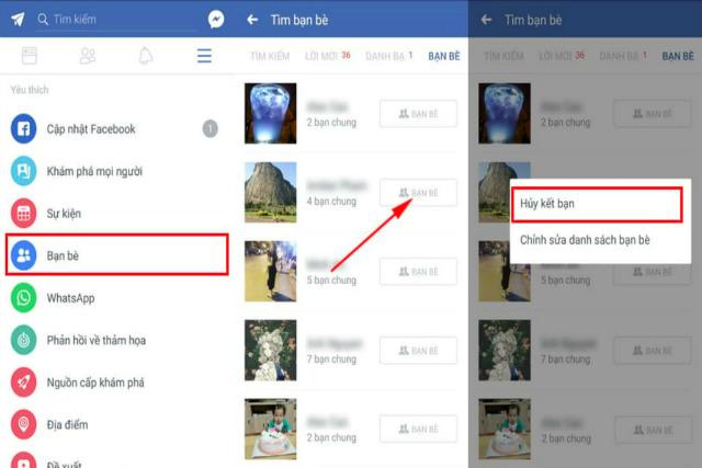 cách hủy kết bạn trên facebook bằng điện thoại 3