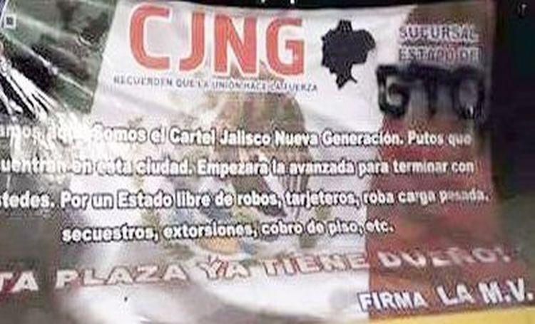 CJNG deja narcomanta amenazando a todos los extorsionadores en Guanajuato.