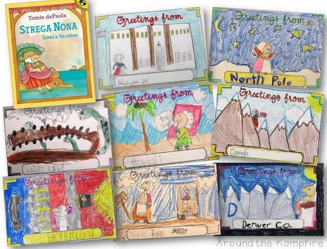 Post cards written from the character's point of view for Strega Nona Takes A Vacation during our Tomie dePaola author study | Around the Kampfire blog