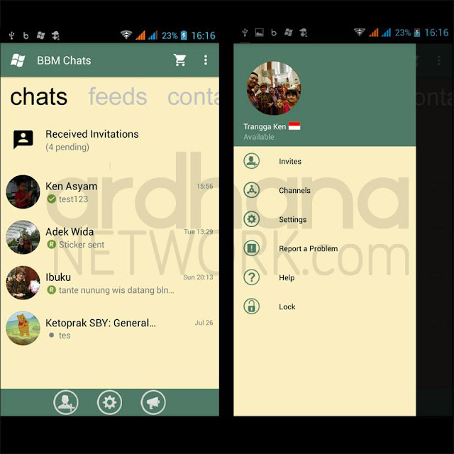 Preview BBM Windows Phone Green Lemon V2.10.0.35