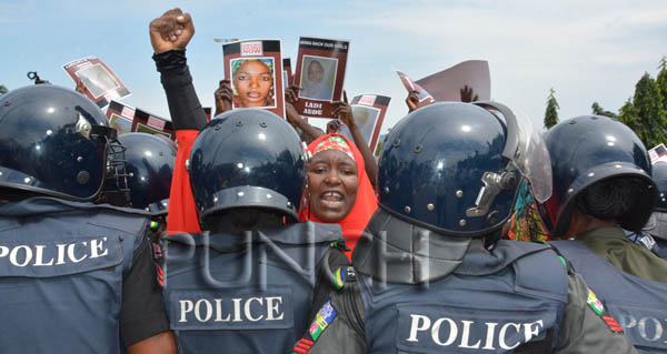 Members of the BringBackOurGirls coalition during a protest in Abuja