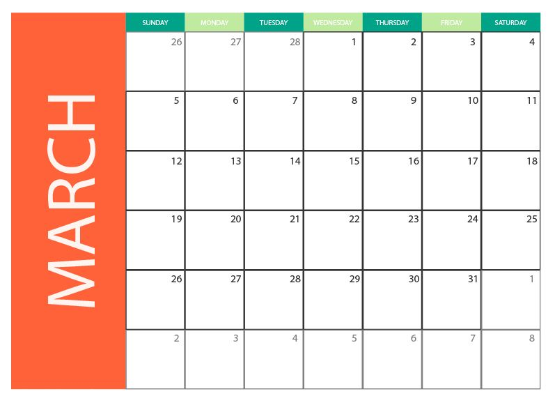 March 2017 printable monthly calendar free vector art. printables 2 ...