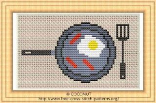 FRIED EGGS AND SAUSAGE ON PAN, FREE AND EASY PRINTABLE CROSS STITCH PATTERN