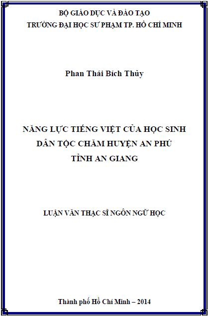 Năng lực tiếng việt của học sinh dân tộc chăm huyện An Phú tỉnh An Giang