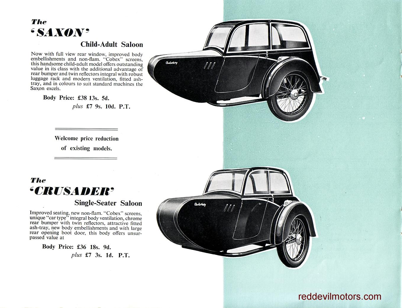 Red Devil Motors: Canterbury Sidecars 1957