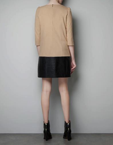 6dbcca35 Zara combination fabric dress. S : bust 84 shoulder 35 sleeve 45 length 83.  M : bust 88 shoulder 36 sleeve 46 length 85. L : bust 92 shoulder 37 sleeve  47 ...