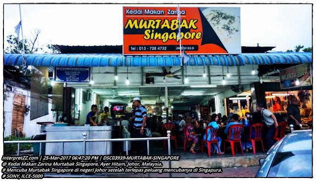 Gambar Kedai Makan Zarina Murtabak Singapore di Ayer Hitam di Johor di Malaysia.