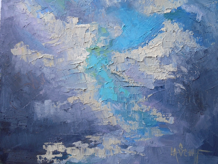 Cloud Painting Sky Daily Small Oil A Touch Of Blue By Carol Schiff 6x8 Original Art