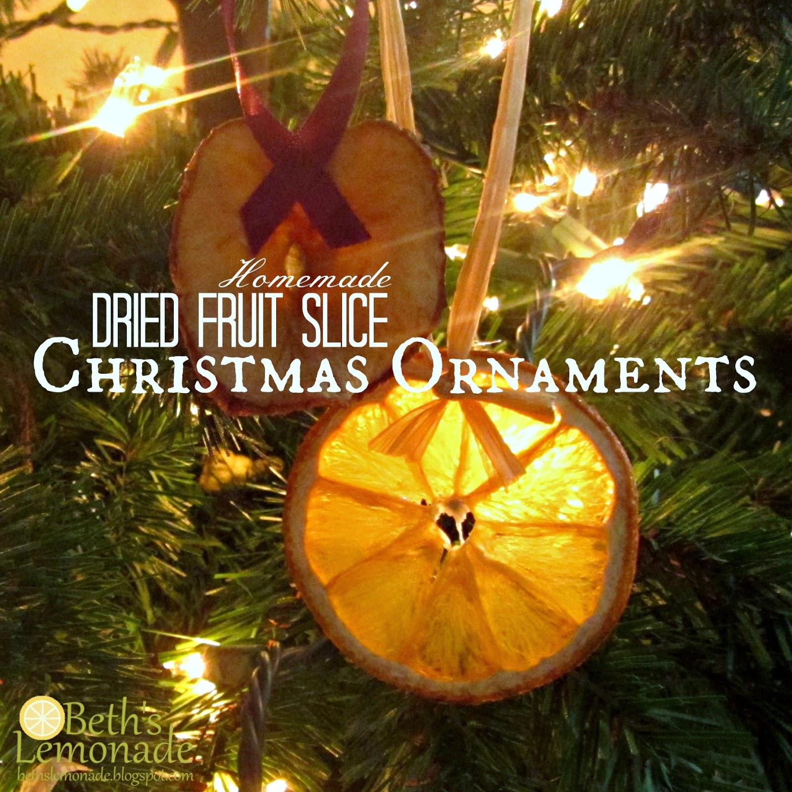 Christmas Tree Fruit Ornaments.Beth S Lemonade Rustic Homemade Christmas Tree Homemade