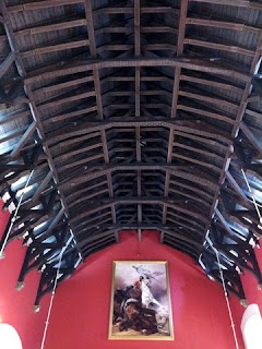 Bowed wooden beams forming the roof of the Great Hall, Edinburgh Castle, Edinburgh, Scotland