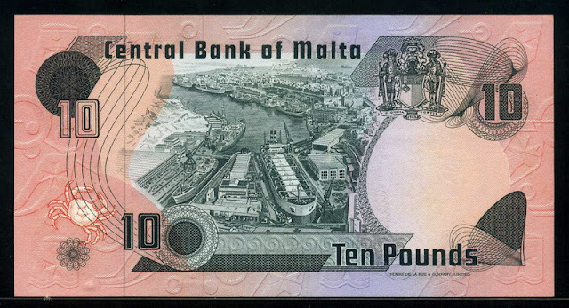 Malta currency  10 liri pounds banknote