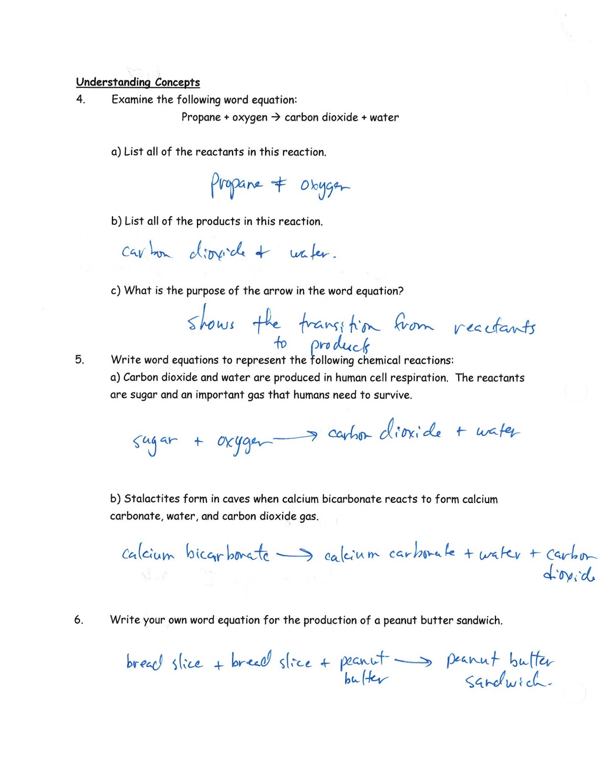 Mr Kaspricks Science 10 Class CR3 Represent chemical reactions – Chemistry Word Equations Worksheet Answers