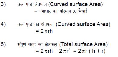 वक्रपृष्ठ का क्षैत्रफल   -     2πrh सम्पूर्ण पृष्ठ का क्षैत्रफल          -      2πr(r+h)