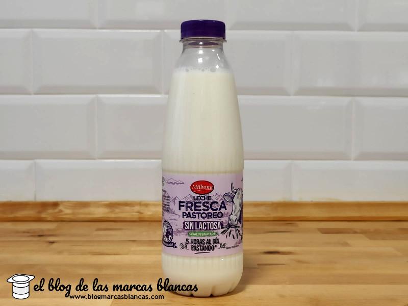 Leche fresca de pastoreo semidesnatada sin lactosa Milbona de Lidl.