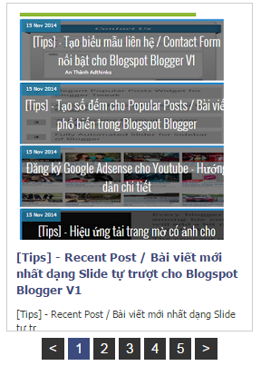 [Tips] - Recent Post / Bài viết mới nhất dạng Slide ngang đếm số cho Blogspot Blogger V2