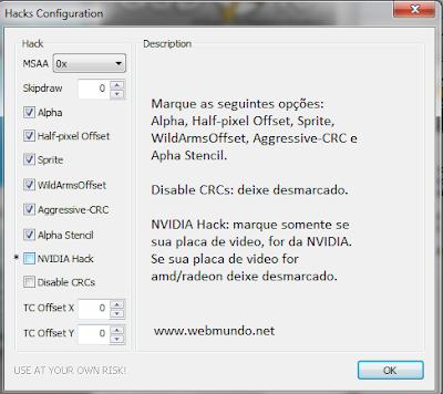 Melhor configuração pcsx2 video (hacks)