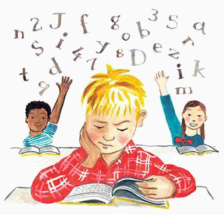 Child boy with dyslexia problem with reading