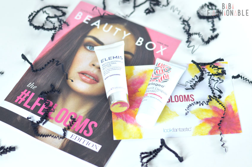 Unboxing Lookfantastic #LFBLOOMS Box Elemis Hand and Nail Butter Briogeo Deep Conditioning Mask