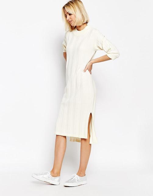 panel knit dress, cream knit midi dress,