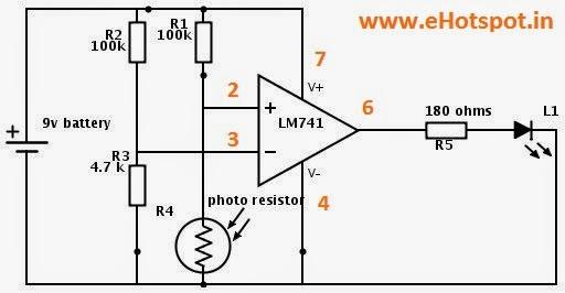 Drakness Detector using 741 opamp IC ~ Electronics Hotspot