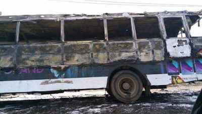 Members of Deeper Life church escape death as a bus conveying them bursts into flames in Lagos