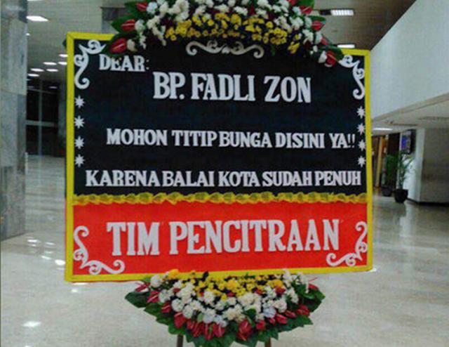 Kiriman bunga untuk Fadli Zon