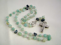 Rosary in Sterling Silver + Gemstones Amazonite+Coral