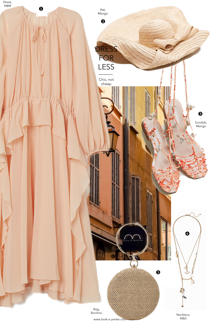 A gorgeous summer outfit inspired by chloe dress, styled with extra large straw hat, multilayered statement necklace, sandals and clutch for look-a-porter.com fashion blog, daily outfit ideas, dress for less, best buys, designer finds, wardrobe essentials and classics.
