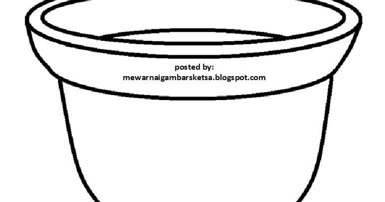 Mewarnai Gambar Mewarnai Gambar Sketsa Pot Bunga 2