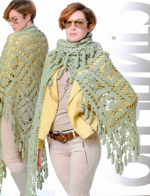 Patrón #1391: Poncho a Crochet