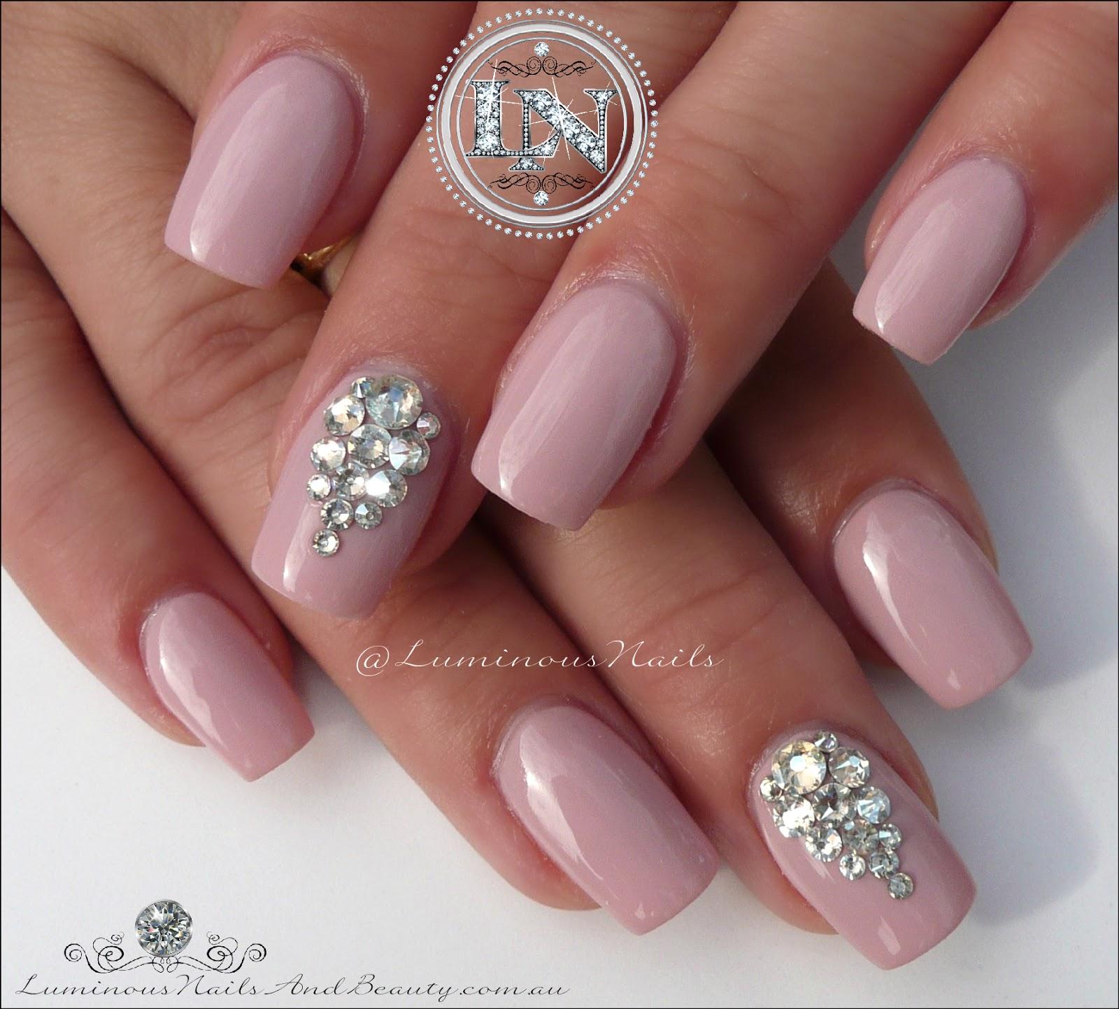 Luminous Nails: Bridal Nails with Swarovski Crystals. Acrylic & Gel ...