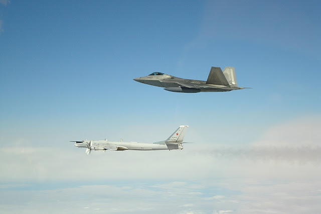 F-22 Raptors intercept four Tupolev Tu-95 bombers and two Su-35 fighters over Alaska