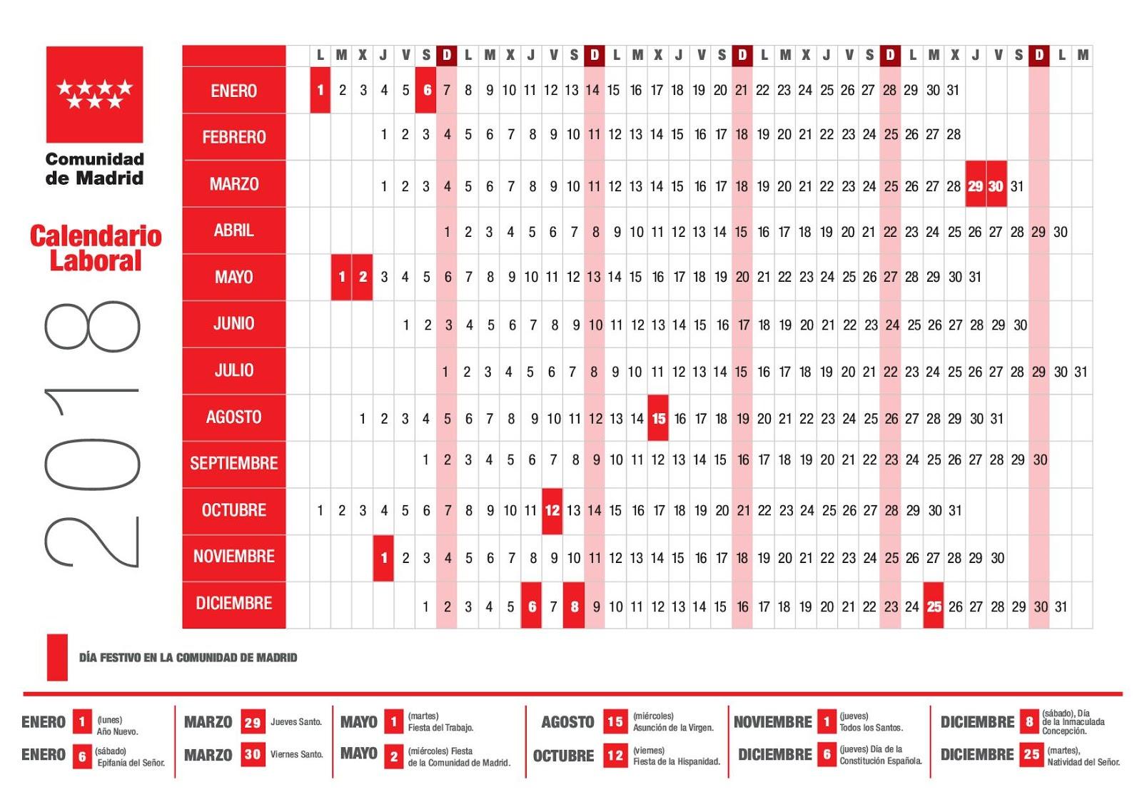 Las tablas digital la comunidad aprueba el calendario for Calendario eventos madrid