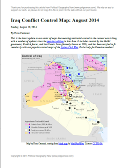 Detailed map of territorial control in Iraq in August 2014, including cities and countryside held by the Islamic State (ISIS, ISIL) and the Kurdistan Peshmerga.