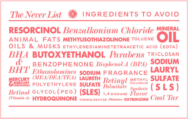 The Never List for Beautycounter cosmetics. Only safe products http://www.beautycounter.com/leighhines/#