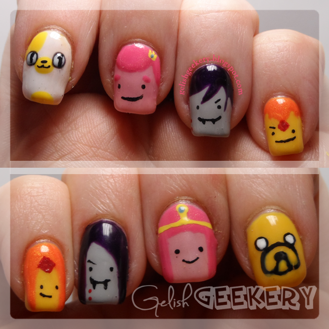 Gelish Geekery Gelish Mani Sunday What Time Is It Adventure Time Nails