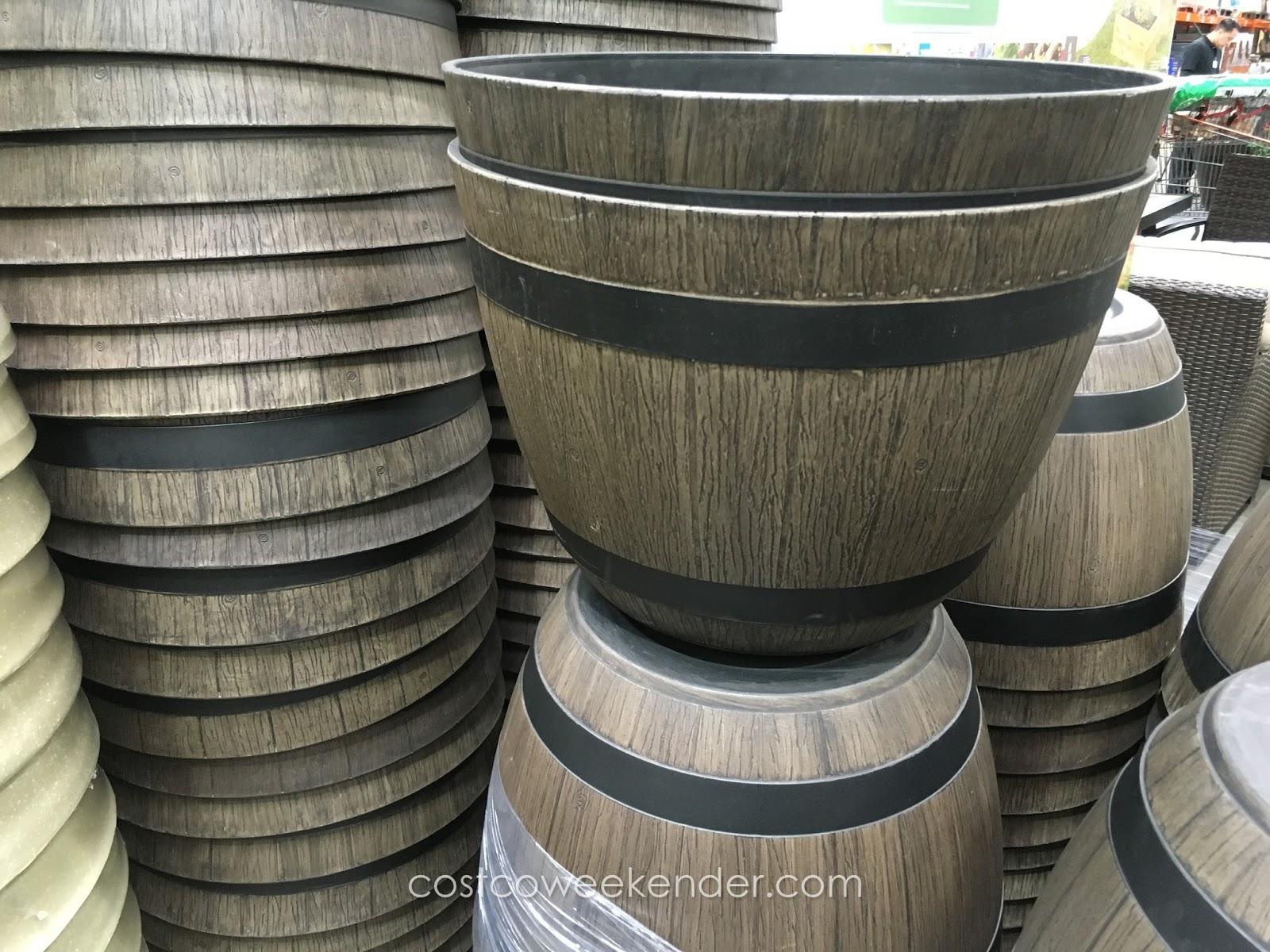 wine barrel planter high density resin   costco weekender
