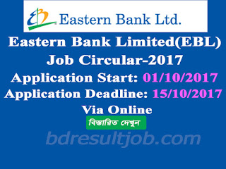 Eastern Bank Limited (EBL) Branch Manager and Relationship Manager Job Circular 2017