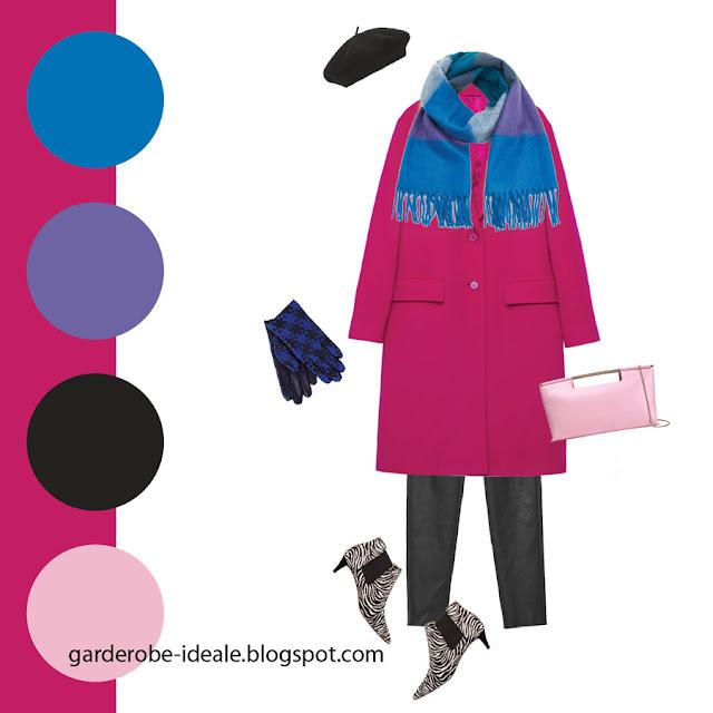Сочетание розового пальто с синим и фиолетовым шарфом