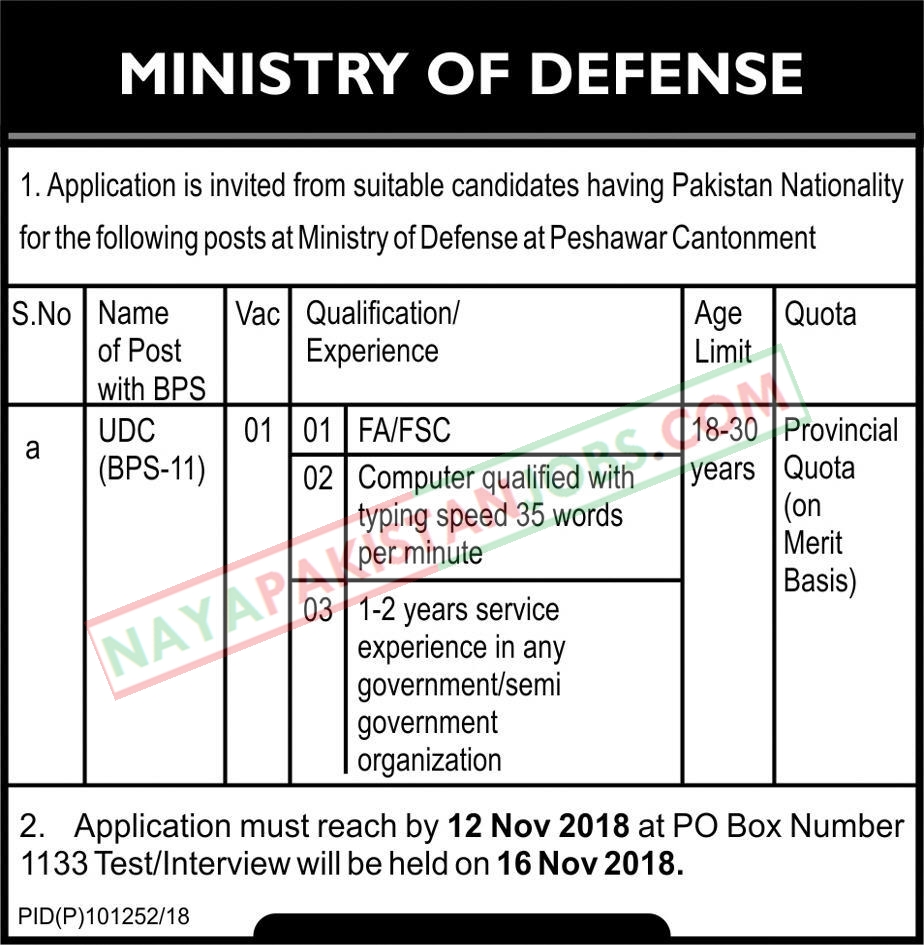 Latest Vacancies Announced in Ministry Of Defence Govt Of Pakistan 6 November 2018 - Naya Pakistan