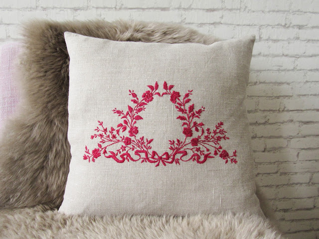 cushion cover french linen embroidered