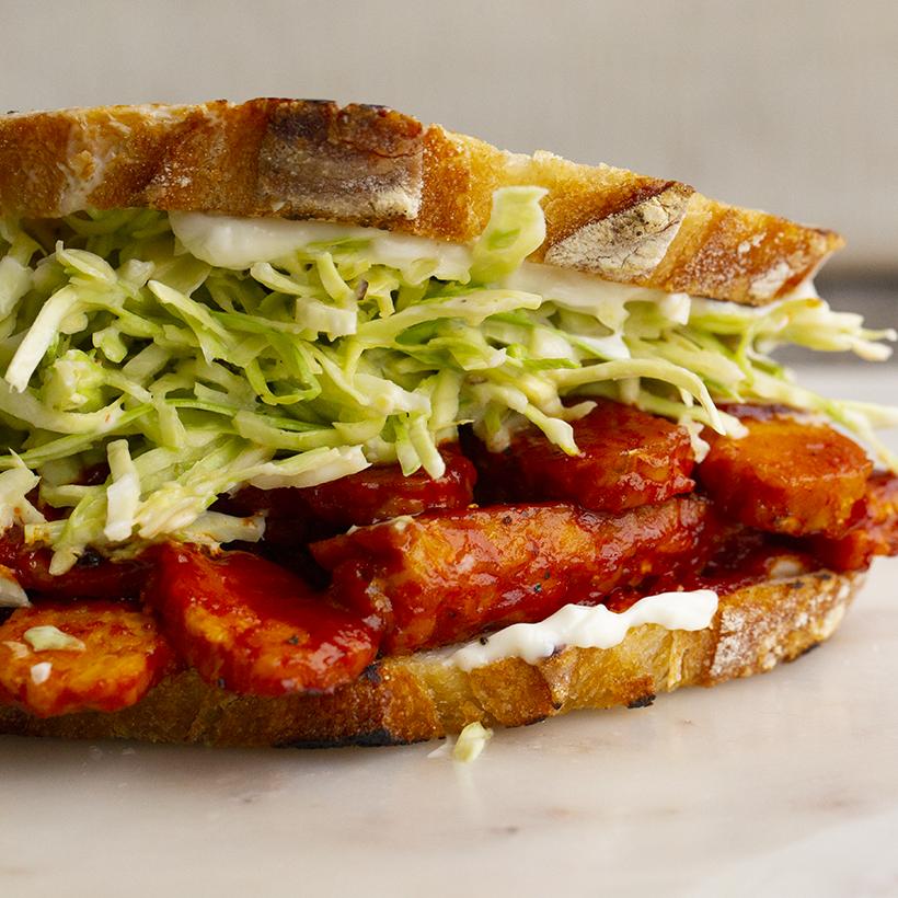 BBQ Tempeh + Creamy Slaw Sandwich