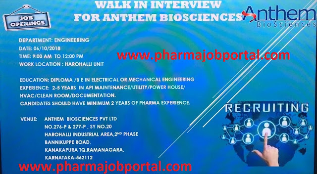 Anthem Bioscience Walk-In Interviews at 6 October