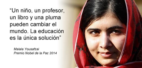 Frase de Malala sobre la educación y foto