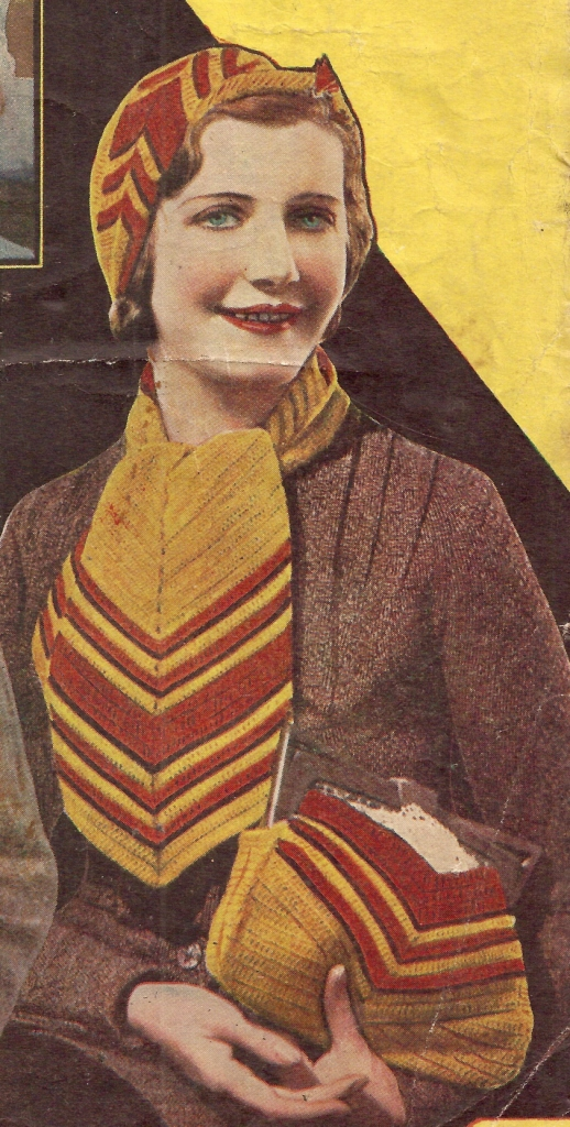The Vintage Pattern Files: Free 1930s Crochet Pattern - Smart Set Hat Purse & Scarf