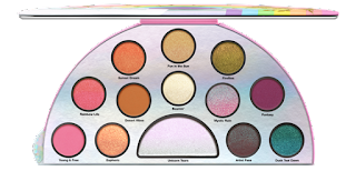A white semi circular plastic case containing circular pans of different coloured shimmer shadows including blue, pink and orange on a bright background.
