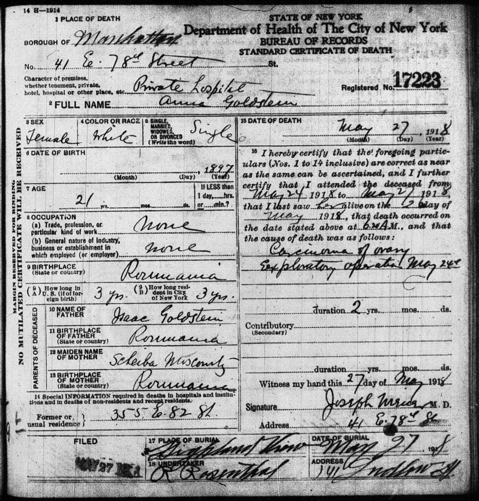 A jewish genealogy journey anna goldsteins death certificate 1918 new york new york manhattan deaths fhl microfilm 1322427 certificate no 17223 anna goldstein may 27 1918 aiddatafo Choice Image