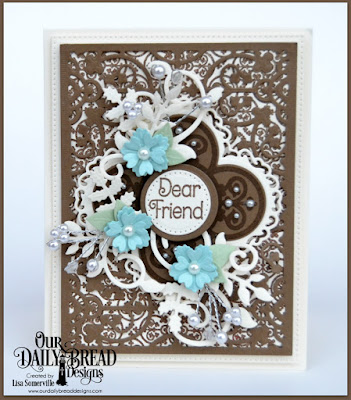 Our Daily Bread Designs Stamp Sets: Medallion Sentiments, Medallion Background, Our Daily Bread Designs Custom Dies: Majestic Medallion, Pierced Circles, Flourishy Frames, Bitty Blossoms, Foliage and Leaves, Lovely Leaves, Pierced Rectangles, Circles